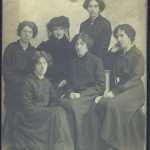 Portrait of Catherine Daly with five of her daughters in mourning dress; back L-R Madge, Catharine Daly, Agnes; front, L-R Laura, Nora, Carrie