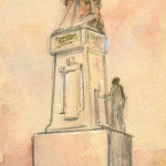 Triptych comprising a photograph of the 1916 Memorial, flanked by Albert Power's sketches of same